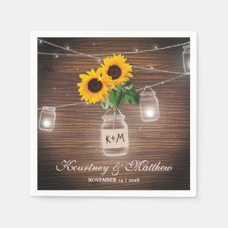 Backyard Rustic Mason Jar Sunflower Lights Wedding Napkin