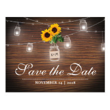 Backyard Rustic Mason Jar Sunflower Save the Date Postcards