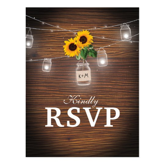 Backyard Rustic Mason Jar Sunflower Wedding RSVP Postcard