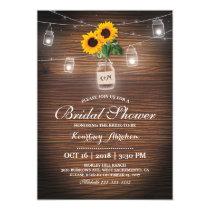 Backyard Rustic Sunflower Jar Lights Bridal Shower Invitation