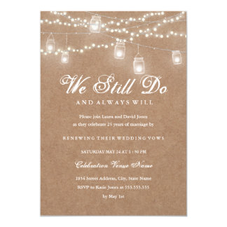 Backyard Rustic Vow Renewal Anniversary Invitation