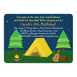 Backyard Sleepover Camping Birthday Party For Boys Personalized Invitations