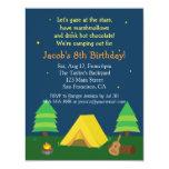 Backyard Sleepover Camping Birthday Party For Boys 4.25x5.5 Paper Invitation Card