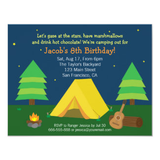 Backyard Sleepover Camping Birthday Party For Boys Announcement