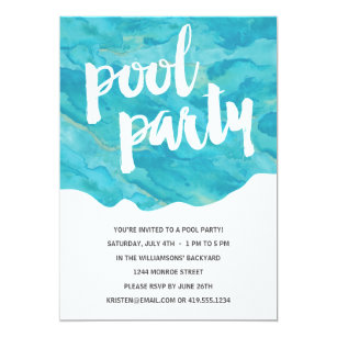 backyard splash pool party invitation