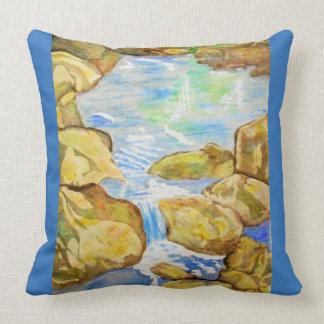 Backyard Stream Watercolor Throw Pillow