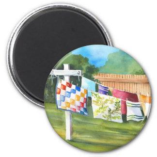 Backyard Washline Sticker 2 Inch Round Magnet