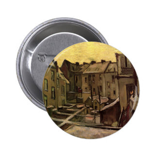 Backyards of Old Houses by Vincent van Gogh Button