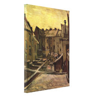 Backyards of Old Houses in Antwerp in the Snow Canvas Print