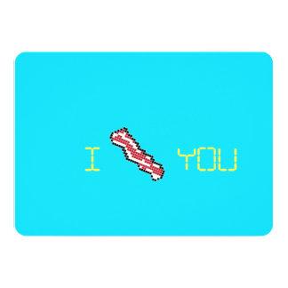 Bacon 8-Bit Retro Pixel I Heart You Card