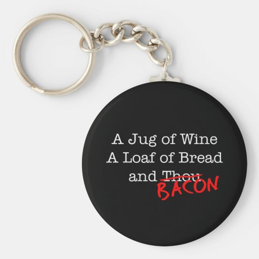 Bacon A Jug of Wine Keychain