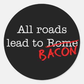 Bacon All Roads Classic Round Sticker