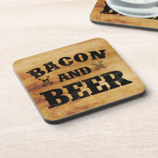 Bacon and beer rustic wood coaster