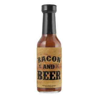 Bacon and beer rustic wood hot pepper sauce
