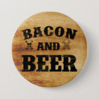 Bacon and beer rustic wood pinback button