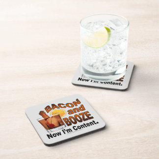 BACON and BOOZE! Now I'm Content - Cocktail humor Beverage Coaster