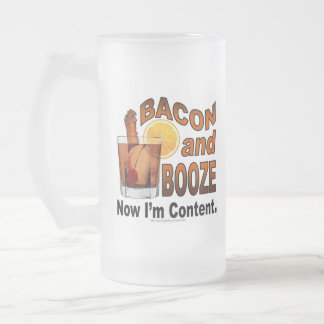 BACON and BOOZE! Now I'm Content - Cocktail humor Frosted Glass Beer Mug