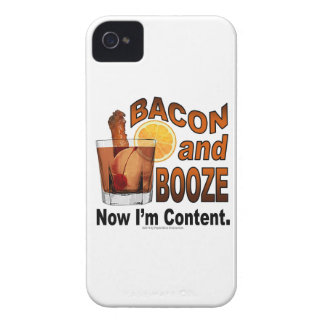 BACON and BOOZE! Now I'm Content - Cocktail humor iPhone 4 Case-Mate Case