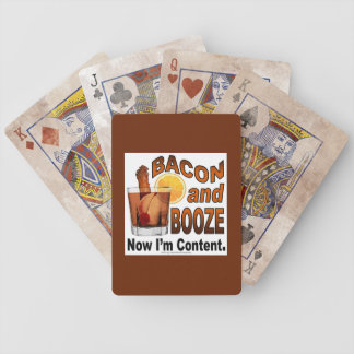 BACON and BOOZE! Now I'm Content - Cocktail humor Bicycle Playing Cards