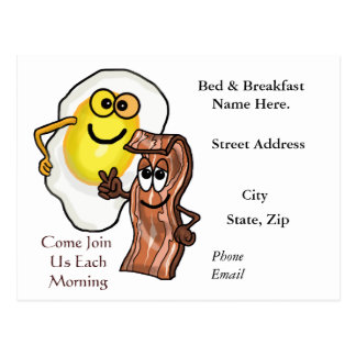 Bacon and Egg Bed & Breakfast Promo Post Cards