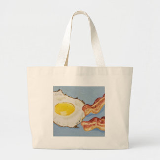 Bacon and Egg Breakfast painting Jumbo Tote Bag