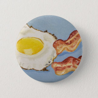 Bacon and Egg Breakfast painting Pinback Button