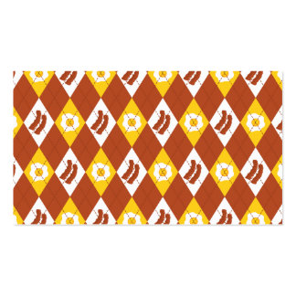 Bacon and Eggs Argyle Pattern Business Card Templates