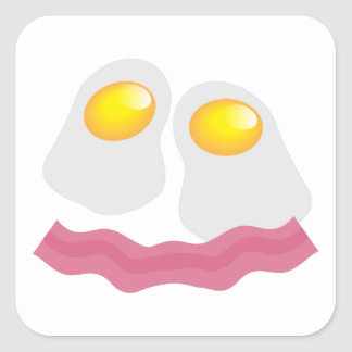 Bacon and eggs breakfast face sticker