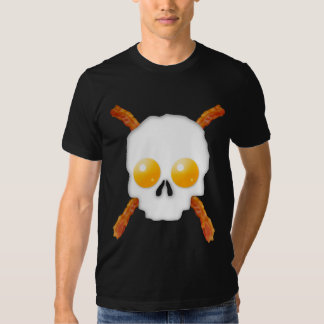 Bacon and Eggs Breakfast Skull T Shirts