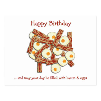 Bacon and Eggs Happy Birthday Postcard