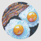 BACON AND EGGS IN A PAN CLASSIC ROUND STICKER