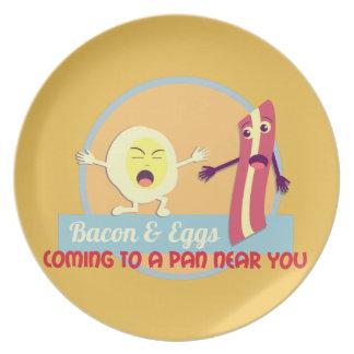 Bacon and Eggs Melamine Plate
