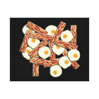 Bacon and Eggs Pattern Gallery Wrap Canvas