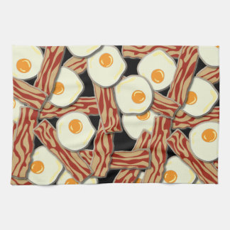 Bacon and Eggs Pattern Hand Towels