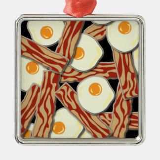 Bacon and Eggs Pattern Metal Ornament