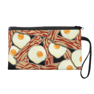 Bacon and Eggs Pattern Wristlet Purse