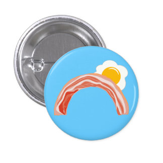Bacon and Eggs Rainbow 1 Inch Round Button