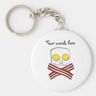 Bacon and eggs skull and crossbones keychain