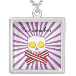 Bacon and eggs skull and crossbones purple stripes custom jewelry