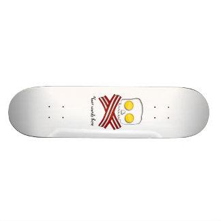 Bacon and eggs skull and crossbones skateboard