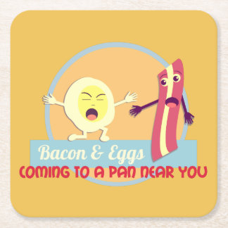 Bacon and Eggs Square Paper Coaster