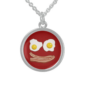 Bacon and Eggs Sterling Silver Necklace