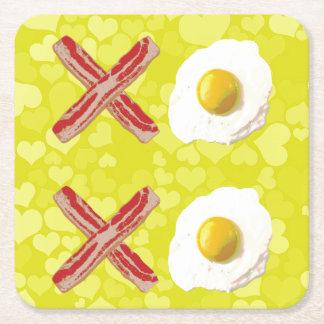 Bacon and Eggs - XOXO Square Paper Coaster