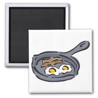 bacon and fried eggs 2 inch square magnet