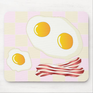Bacon and fried eggs on a  sqyare pink background mouse pad