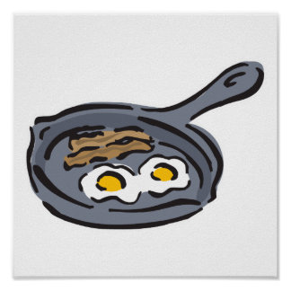 bacon and fried eggs posters