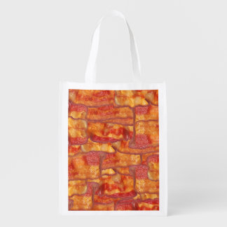 Bacon Background Pattern, Funny Fried Food Grocery Bag