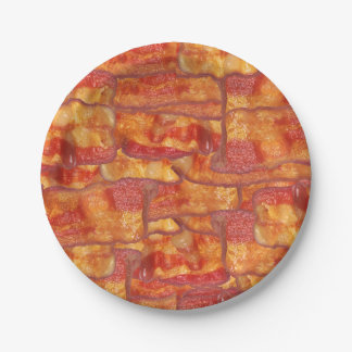Bacon Background Pattern, Funny Fried Food 7 Inch Paper Plate