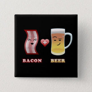 Bacon + Beer In Love (black bkgd) Button