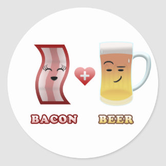 Bacon + Beer In Love Classic Round Sticker